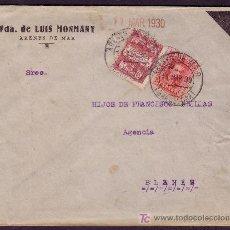 Sellos: ESPAÑA.(CAT.317A,AYTO.2).1930.SOBRE LUTO.25 Y 5 CTS.MAT. *ARENYS DE MAR/BARCELONA*.MAGNÍFICA Y RARA.. Lote 24565128