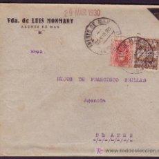 Sellos: ESPAÑA.(CAT.317A, AYTO.3).1930.SOBRE LUTO.25 Y 5 CTS. MAT.*ARENYS DE MAR/BARCELONA*. MAGNÍFICA.RARA.. Lote 24754416