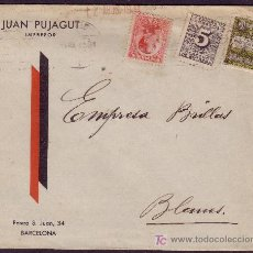 Sellos: ESPAÑA.(CAT.495,592,AYTO.6).1931(11 AGO).SOBRE PUBLICIDAD DE BARCELONA.BONITO FRANQUEO.MAGNÍFICA.. Lote 24470147