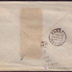 Sellos: ESPAÑA.(CAT.317A).1929.SOBRE DE MATARÓ (BARCELONA). 25 CTS. DORSO NUMERAL DE REPARTO *3º*.MUY RARO.. Lote 24424182