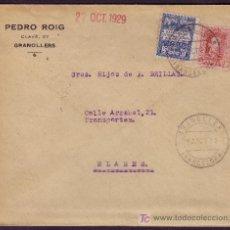 Sellos: ESPAÑA.(CAT.317, AYTO.1).1929.SOBRE DE GRANOLLERS (BARCELONA). DORSO *2º* REPARTO Y DE GIRO POSTAL.. Lote 24754383