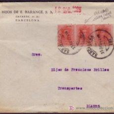 Sellos: ESPAÑA.(CAT. 317A).1925.SOBRE D BARCELONA.TIRA DE 3.SELLO CENTRAL CON VARIEDAD.MUY RARA Y MAGNÍFICA.. Lote 27256289