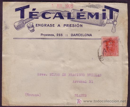 ESPAÑA. (CAT. 317).1925. SOBRE PUBLICIDAD AUTOMÓVILES DE BARCELONA. 25 CTS. DORSO LLEGADA. MUY RARA. (Sellos - España - Alfonso XIII de 1.886 a 1.931 - Cartas)