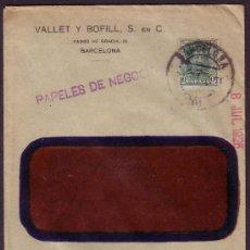 Sellos: ESPAÑA.(CAT.314).1925.SOBRE DE VENTANA DE BARCELONA A BLANES.10 CTS. PAPELES DE NEGOCIOS.MUY RARA.. Lote 25358807