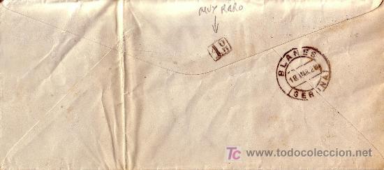 ESPAÑA.(CAT. 317A).1928.SOBRE DE BARCELONA A BLANES.25 CTS.DORSO *1º* REPARTO.MAGNÍFICA Y MUY RARA. (Sellos - España - Alfonso XIII de 1.886 a 1.931 - Cartas)