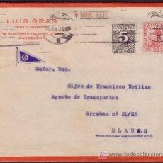 Sellos: ESPAÑA.(CAT.495,592).1931.SOBRE PUBLICIDAD MARÍTIMA DE BARCELONA. 25 C. Y 5 C. DERECHO ENTREGA.RARA.. Lote 25276630