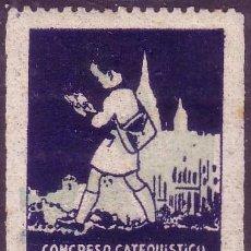 Sellos: ESPAÑA. VIÑETA. * CONGRESO CATEQUÍSTICO DIOCESANO *. LUJO.. Lote 25448487