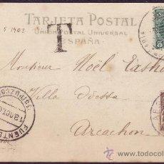 Sellos: ESPAÑA.(CAT.242+FRANCÉS).1905.T.P. DE FUENTERRABIA (GUIPÚZCOA) A FRANCIA. MUY RARO FRANQUEO MIXTO.. Lote 25855381
