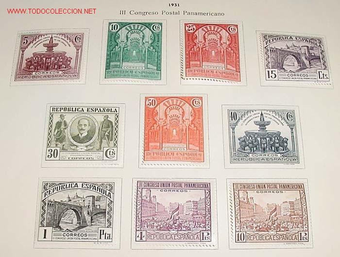 1931 - III CONGRESO POSTAL PANAMERICANO - SELLOS NUEVOS CON CHARNELA FIJADOS A A HOJA DE ALBUM - SON (Sellos - España - Alfonso XIII de 1.886 a 1.931 - Usados)