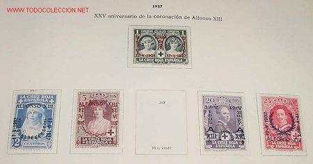 Sellos: 1927 - XXV ANIVERSARIO DE LA CORONACION DE ALFONSO XIII - SELLOS NUEVOS CON CHARNELA fijadoa a hoja - Foto 2 - 26793486