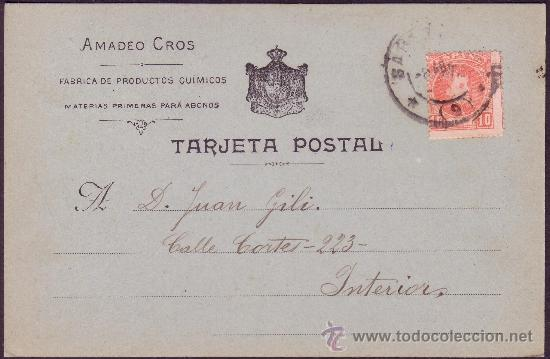ESPAÑA.(CAT.243).1903.T. P. PUBLICIDAD *AMADEO CROS* DE CORREO INTERIOR BARCELONA. 10 CTS. RARA. (Sellos - España - Alfonso XIII de 1.886 a 1.931 - Cartas)
