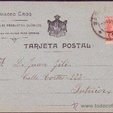 Sellos: ESPAÑA.(CAT.243).1903.T. P. PUBLICIDAD *AMADEO CROS* DE CORREO INTERIOR BARCELONA. 10 CTS. RARA.. Lote 26975374