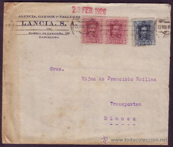 ESPAÑA.(CAT.311,315).1926.SOBRE PUBLICIDAD AUTOMÓVILES DE BARCELONA. 5 Y 15 CTS. MUY BONITO FRANQUEO (Sellos - España - Alfonso XIII de 1.886 a 1.931 - Cartas)