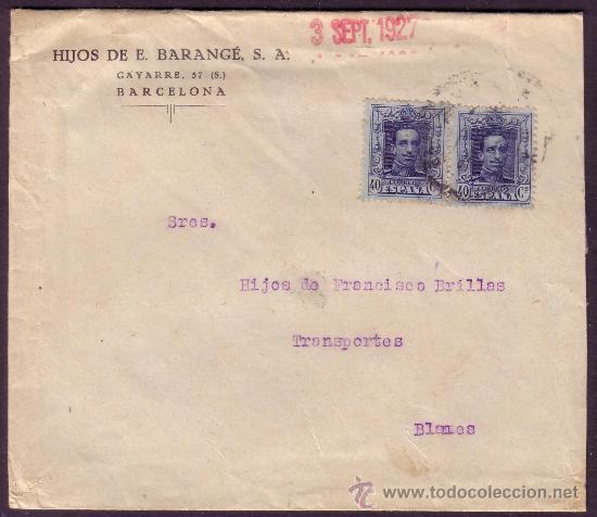 ESPAÑA. (CAT. 319).1927. SOBRE DE BARCELONA A BLANES. DOS SELLOS 40 CTS. VAQUER. MUY RARO FRANQUEO. (Sellos - España - Alfonso XIII de 1.886 a 1.931 - Cartas)
