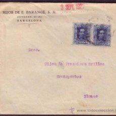Sellos: ESPAÑA. (CAT. 319).1927. SOBRE DE BARCELONA A BLANES. DOS SELLOS 40 CTS. VAQUER. MUY RARO FRANQUEO.. Lote 25103531