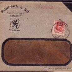 Sellos: ESPAÑA. (CAT. 317). 1924. SOBRE PUBLICIDAD CON VENTANA DE BARCELONA. 25 CTS. LLEGADA. RARO.. Lote 23416675
