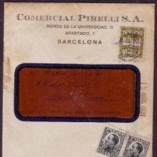 Sellos: ESPAÑA.(CAT.493,AYTO.6).1931.SOBRE D VENTANA CON PUBLICIDAD AUTOMÓVIL DE BARCELONA.15 C. Y AYTO.RARO. Lote 26122868