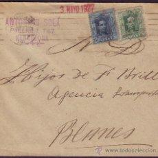 Sellos: ESPAÑA. (CAT. 314, 315). 1927. SOBRE DE BARCELONA A BLANES.10 Y 15 CTS. LLEGADA. BONITO FRANQUEO.. Lote 23119407
