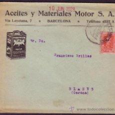 Sellos: ESPAÑA.(CAT. 317).1928.SOBRE PUBLICIDAD AUTOMÓVILES DE BARCELONA.25 CTS. VAQUER.LLEGADA.MUY BONITO.. Lote 24754426