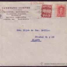 Sellos: ESPAÑA.(CAT.317, AYTO. 2).1929.SOBRE PUBLICIDAD AUTOMÓVILES DE BARCELONA.LLEGADA DE GIRO POSTAL.BTO.. Lote 24223815