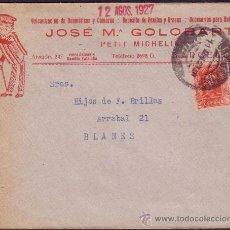 Sellos: ESPAÑA. (CAT. 317). 1927. SOBRE PUBLICIDAD AUTOMÓVILES DE BARCELONA. 25 CTS. VAQUER. LLEGADA. RARO.. Lote 23395977
