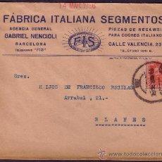 Sellos: ESPAÑA. (CAT. 317).1926. SOBRE PUBLICIDAD AUTOMÓVILES DE BARCELONA.25 CTS. LLEGADA. MAGNÍFICO Y RARO. Lote 23379205