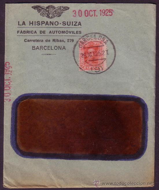 ESPAÑA. (CAT. 317). 1925. SOBRE DE PUBLICIDAD AUTOMÓVILES * LA HISPANO SUIZA *. BARCELONA. MUY RARO. (Sellos - España - Alfonso XIII de 1.886 a 1.931 - Cartas)
