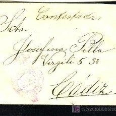 Sellos: CARTA DIRIGIDA A CADIZ, CON MARCA DEL MINISTERIO DE LA GOBERNACIÓN EN ROJO.. Lote 22100426