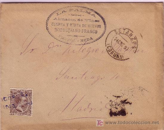 CARTA DE NEDA ( CORUÑA ), FRANQUEADA CON EL SELLO 219, MATASELLADO CON CARTERIA. (Sellos - España - Alfonso XIII de 1.886 a 1.931 - Cartas)