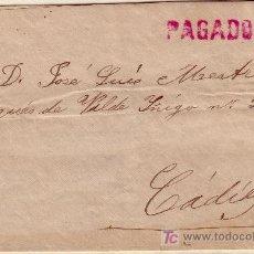 Sellos: CARTA DE SAN FERNANDO A CADIZ, TRANSPORTADA POR EL MENSAJERO DIEGO CEPILLO.. Lote 14625914