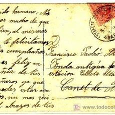 Sellos: TARJETA POSTAL ILUSTRADA DE BARCELONA A CANET DE MAR, FRANQUEADA CON EL SELLO 269.. Lote 12946608