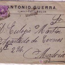 Sellos: CARTA DE CACABELOS ( LEON ) A MADRID, FRANQUEADA CON EL SELLO 246 MATASELLADO CON CARTERIA.. Lote 12946799