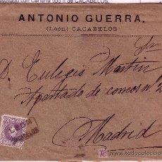 Sellos: CARTA DE CACABELOS ( LEON ) A MADRID, FRANQUEADA CON EL SELLO 245 MATASELLADO CON CARTERIA.. Lote 12946878
