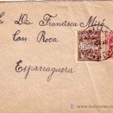Sellos: CARTA DE CUNILLA A ESPARRAGUERA, FRANQUEADA CON LOS SELLOS 317 Y BARCELONA 3.. Lote 22024843