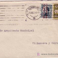 Sellos: CARTA DE BARCELONA A VILLANUEVA Y GELTRÚ, FRANQUEADA CON SELLO 596 Y BARCELONA 6. Lote 22003629