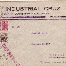 Sellos: CARTA DE BARCELONA CORREO INTERIOR, FRANQUEADA CON LOS SELLOS 491 Y BARCELONA 5. Lote 22024848