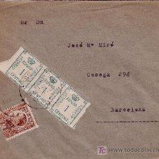 Sellos: CARTA DE BARCELONA CORREO INTERIOR, FRANQUEADA CON LOS SELLOS 291, EN TIRA DE 3 Y 490.. Lote 22024850