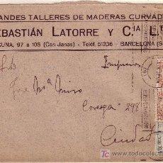 Sellos: CARTA DE BARCELONA CORREO INTERIOR, FRANQUEADA CON LOS SELLOS 291, 490 (2).. Lote 22024851
