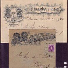 Sellos: ESPAÑA.(CAT.246).1905.SOBRE PUBLICIDAD (CARTA PUBLICIDAD INTERIOR) DE GERONA.MAT.AMBULANTE.MUY RARA.. Lote 27165706
