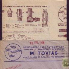 Sellos: ESPAÑA. 1928. SOBRE PUBLICIDAD AUTOMÓVIL (PANFLETO PUBLICITARIO INTERIOR) DE BARCELONA. MUY RARO.. Lote 26193654