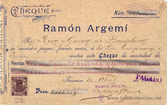 ESPAÑA. TARRASA (BARCELONA). 1901. CHEQUE REINTEGRADO CON SELLO FISCAL. MAGNÍFICO Y RARO. (Sellos - España - Alfonso XIII de 1.886 a 1.931 - Cartas)