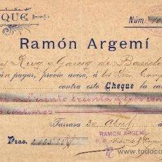 Sellos: ESPAÑA. TARRASA (BARCELONA). 1901. CHEQUE REINTEGRADO CON SELLO FISCAL. MAGNÍFICO Y RARO.. Lote 24540545
