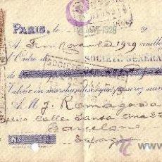 Sellos: PARIS. 1929. LETRA DE CAMBIO. REINTEGRO MIXTO CON SELLOS FISCALES ESPAÑOLES Y FRANCESES. MUY RARA.. Lote 22827493