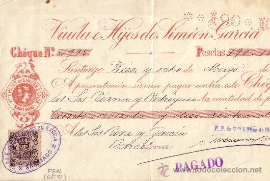 ESPAÑA. FISCAL. SANTIAGO (GALICIA). 1901. CHEQUE REINTEGRADO CON SELLO FISCAL. MAGNÍFICO. (Sellos - España - Alfonso XIII de 1.886 a 1.931 - Cartas)