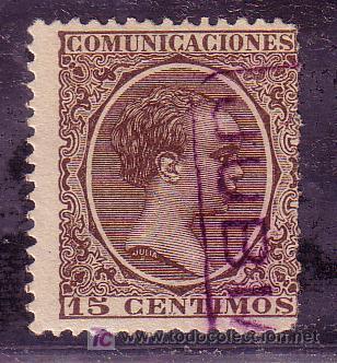 CORUÑA.- MATASELLO CARTERIA DE JUBIA EN VIOLETA SOBRE SELLO DEL PELÓN. (Sellos - España - Alfonso XIII de 1.886 a 1.931 - Usados)