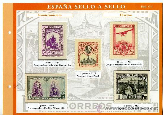 HOJA CON REPRODUCCIONES AUTORIZADA POR CORREOS DE ACONTECIMIENTOS DIVERSOS +ENTIENDA (Sellos - España - Alfonso XIII de 1.886 a 1.931 - Usados)