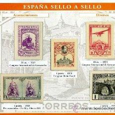 Sellos: HOJA CON REPRODUCCIONES AUTORIZADA POR CORREOS DE ACONTECIMIENTOS DIVERSOS +ENTIENDA. Lote 26106412