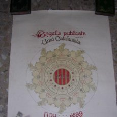 Sellos: CARTEL,SEGELLS PUBLICATS PER LA UNIO CATALANISTA,ANY 1899,CON SUS CORRESPONDIENTES SELLO PARA PEGAR. Lote 18325626