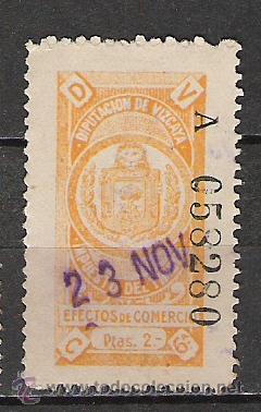 236-RARO SELLO FISCAL DIPUTACION FORAL DE VIZCAYA,ALTO VALOR,ESCASO,2 PESETAS (Sellos - España - Alfonso XIII de 1.886 a 1.931 - Usados)
