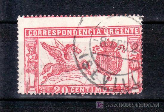 ESPAÑA 256TE USADA, VARIEDAD DEFICIENCIAS SOBRE LAS LETRAS -URG- DE URGENTE (Sellos - España - Alfonso XIII de 1.886 a 1.931 - Usados)
